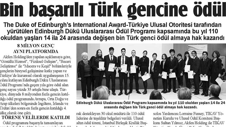 Bin Başarılı Türk Gencine Ödül – İstanbul Gazetesi